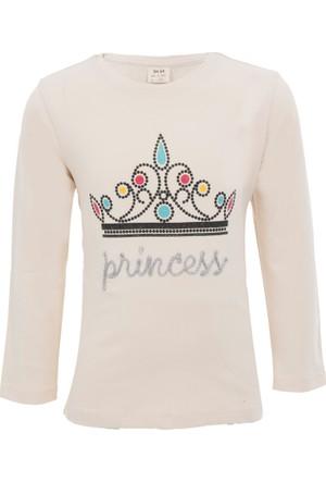 Soobe Pop Girls Taç Baskılı Uzun Kol T-Shirt Ten (3-7 Yaş)