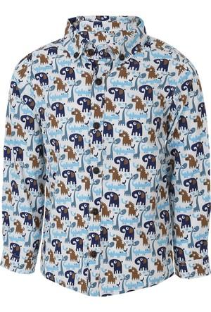 Soobe Pop Boys Taşıtlar Uzun Kol Erkek Bebek Gömlek Açık Taş (56-92 cm)
