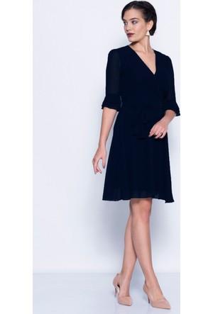 Vidanya İspanyol Kol Lacivert Şifon Elbise