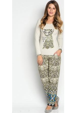 Catherine's 402 Aslan Desenli Viskon Bayan Pijama Takımı