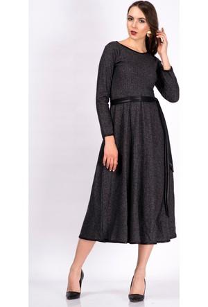 İroni Deri Biyeli Antrasit Uzun Elbise