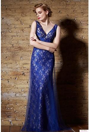 Nelida Beli Şerit Tasarımlı Dantel Elbise