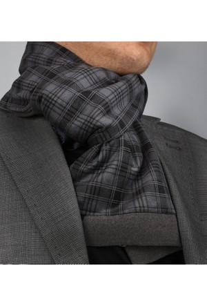 Exve Exclusive Gri Siyah İtalyan Moda Fular Çift Taraflı Erkek Atkı Ae1223