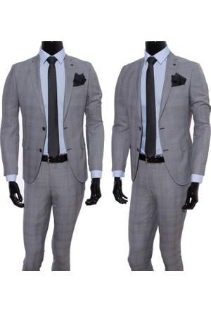 GiyimGiyim Altınyıldız %88 Yün Gri Kareli Dar Kesim Erkek Takım Elbise