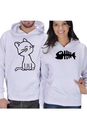 Tisho Kedi - Balık Baskılı Sevgili Kapüşonlu Sweatshirt