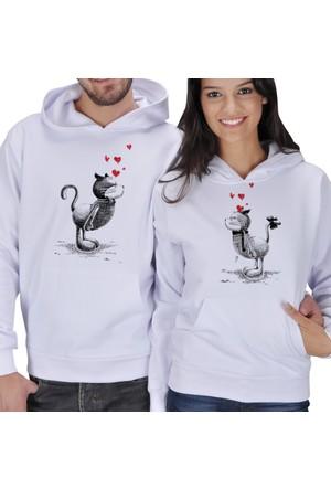 Tisho Aşık Kediler Baskılı Sevgili Kapüşonlu Sweatshirt