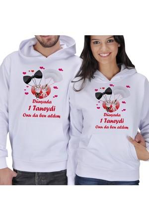 Tisho Dünyada Bir Taneydi Onuda Ben Aldım Baskılı Sevgili Kapüşonlu Sweatshirt