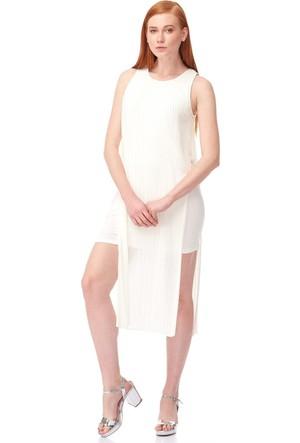 Dilvin 9608 Yanı Açık Piliseli Elbise