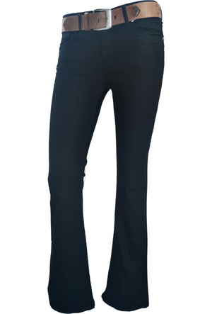 E-Giyimsepeti Siyah İspanyol Paça Ve Normal Bel Bayan Kanvas Pantolon