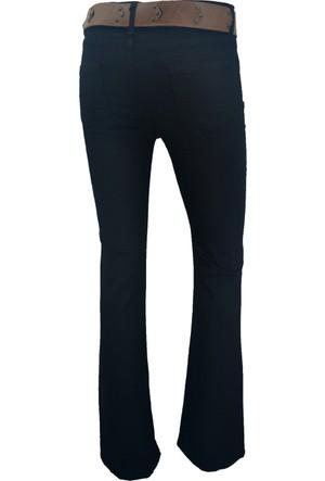 E-Giyimsepeti Normal Bel İspanyol Paça Siyah Bayan Kanvas Pantolon