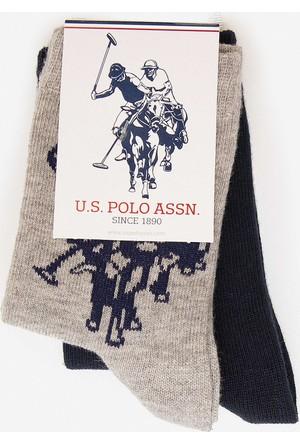 U.S. Polo Assn. Erkek Çocuk Kayt Çorap Gri