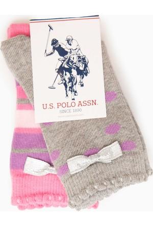 U.S. Polo Assn. Kız Çocuk Linely Çorap Gri