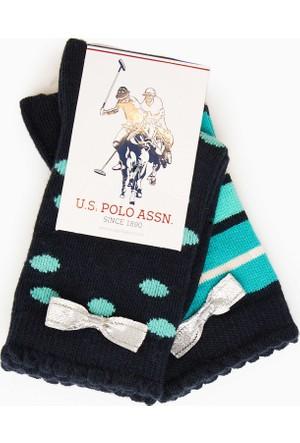 U.S. Polo Assn. Kız Çocuk Linely Çorap Lacivert