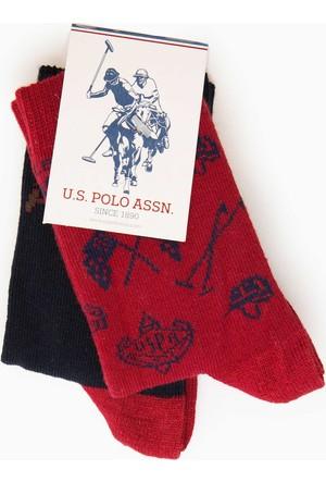 U.S. Polo Assn. Erkek Çocuk Memphisk7 Çorap Kırmızı