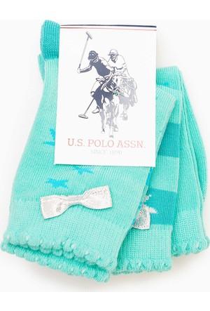 U.S. Polo Assn. Kız Çocuk Starty Çorap Yeşil