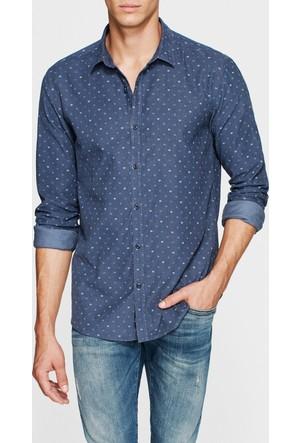 Mavi Erkek Baskılı Vintage İndigo Gömlek