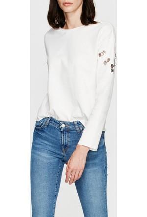 Mavi Kadın Kuşgözü Detaylı Beyaz Sweatshirt