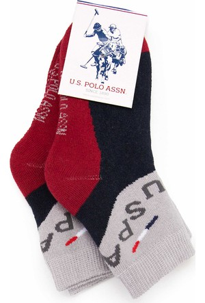 U.S. Polo Assn. Erkek Çocuk Markidsk7 Çorap Kırmızı