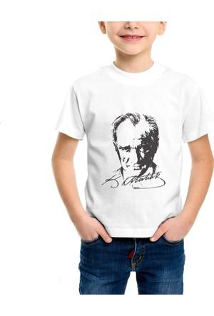 Cücüko Atatürk Silüeti İmzalı Baskılı Tişört