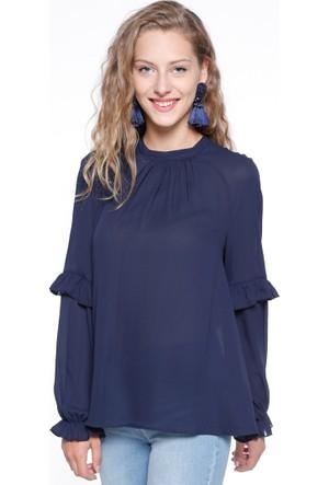 Fırfır Detaylı Bluz - Lacivert - Koton