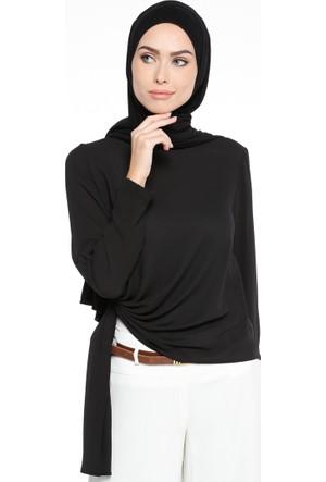Beli Detaylı Bluz - Siyah - NZL