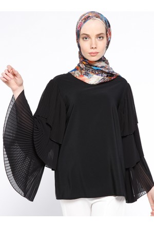 Piliseli Bluz - Siyah - NZL