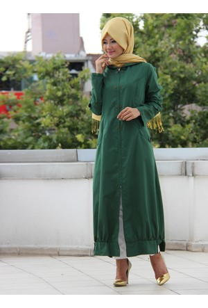 Kapüşonlu Uzun Pardesü - Açık Yeşil - İz Otantik