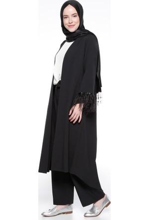 Kol Detaylı Kap - Siyah - Modesty