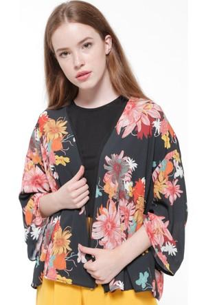 Çiçek Desenli Ceket - Siyah - Koton