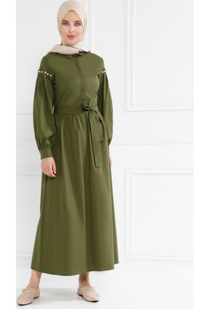 İnci Detaylı Gizli Düğmeli Elbise - Haki - Refka