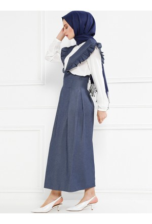 Salopet Elbise - Koyu Gri - Refka