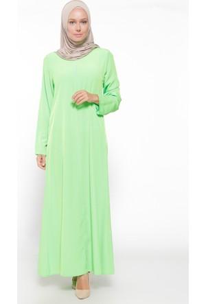 Fermuar Detaylı Elbise Fosforlu Yeşil ModaNaz