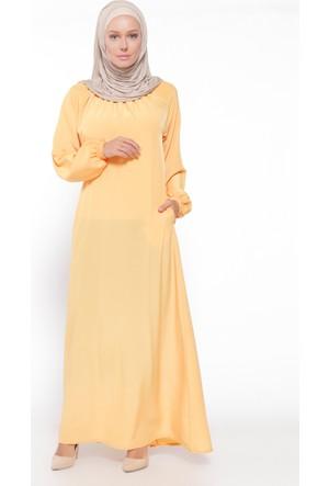 Gipe Detaylı Elbise - Koyusarı- ModaNaz
