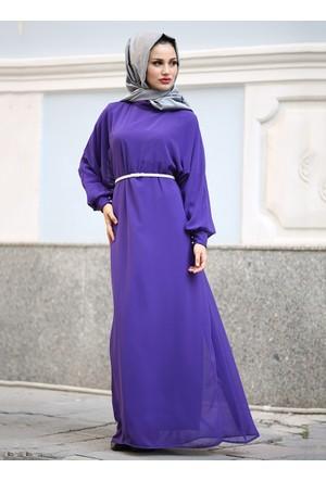 Esila Şifon Elbise - Mor - Gizem Kış