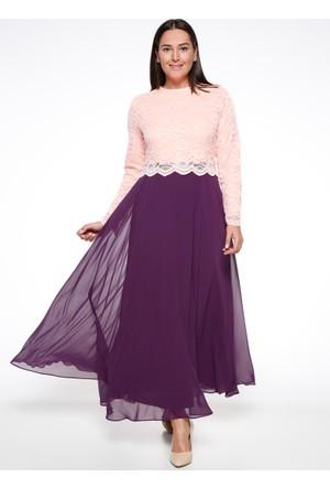 Dantelli Abiye Elbise - Mürdüm Pudra - Sevilay giyim