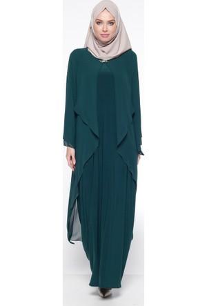 Şifon Detaylı Abiye Elbise - Yeşil - Sevdem Abiye