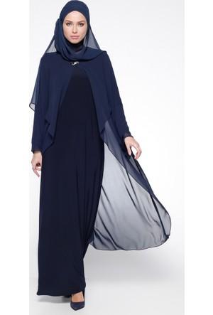 Şifon Detaylı Abiye Elbise - Lacivert - Sevdem Abiye