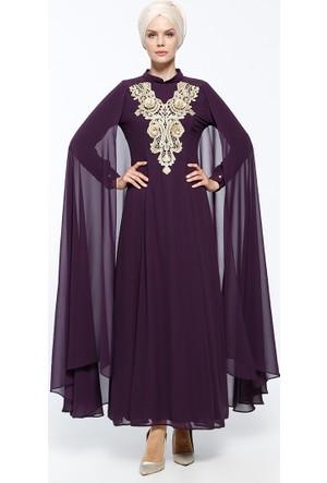 Güpürlü Abiye Elbise - Mor - BÜRÜN