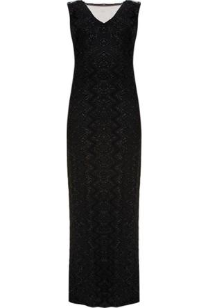 Simli Abiye Elbise - Siyah - Koton