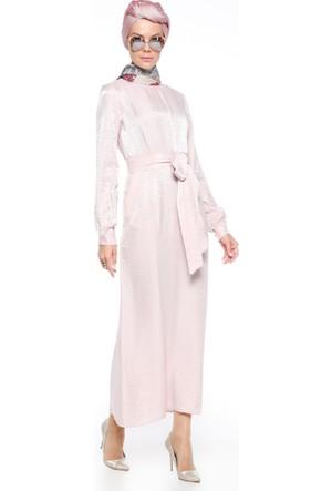 Cep Detaylı Abiye Elbise - Pudra - Mustafa Dikmen
