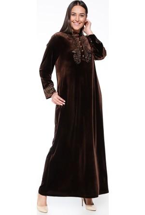 Drop Baskılı Kadife Elbise - Kahverengi - Ginezza