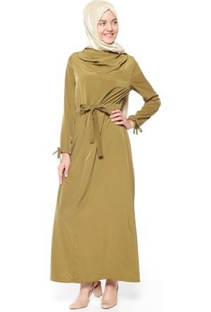 Dökümlü Yaka Elbise - Fıstık Yeşili - Neways