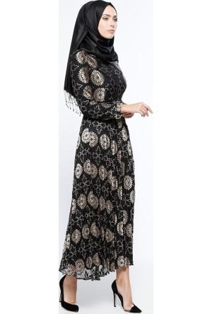 Birit Detaylı Elbise - Vizon - BÜRÜN