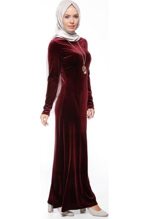 Kolyeli Kadife Elbise - Bordo - Miss Cazibe