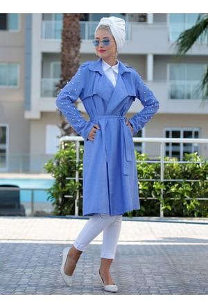İncili Trençkot - Mavi - Selma Sarı Design