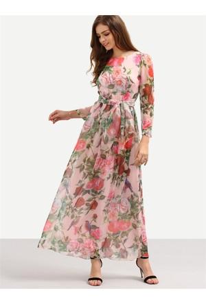 Yok Yok Gül Desenli Romantik Şifon Elbise