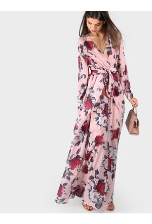 Yok Yok Pembe Çiçek Desenli Uzun Elbise