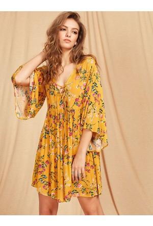 Yok Yok Sarı Botanik Desenli Büzgülü Elbise