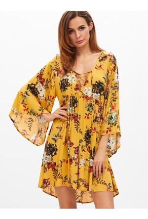 Yok Yok Sarı Çiçek Desenli Çan Kollu Elbise