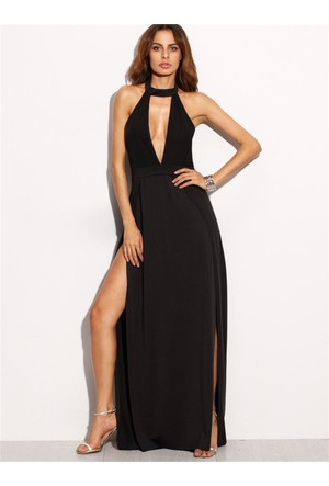 Yok Yok Siyah Derin V Dekolteli Yırtmaçlı Uzun Elbise